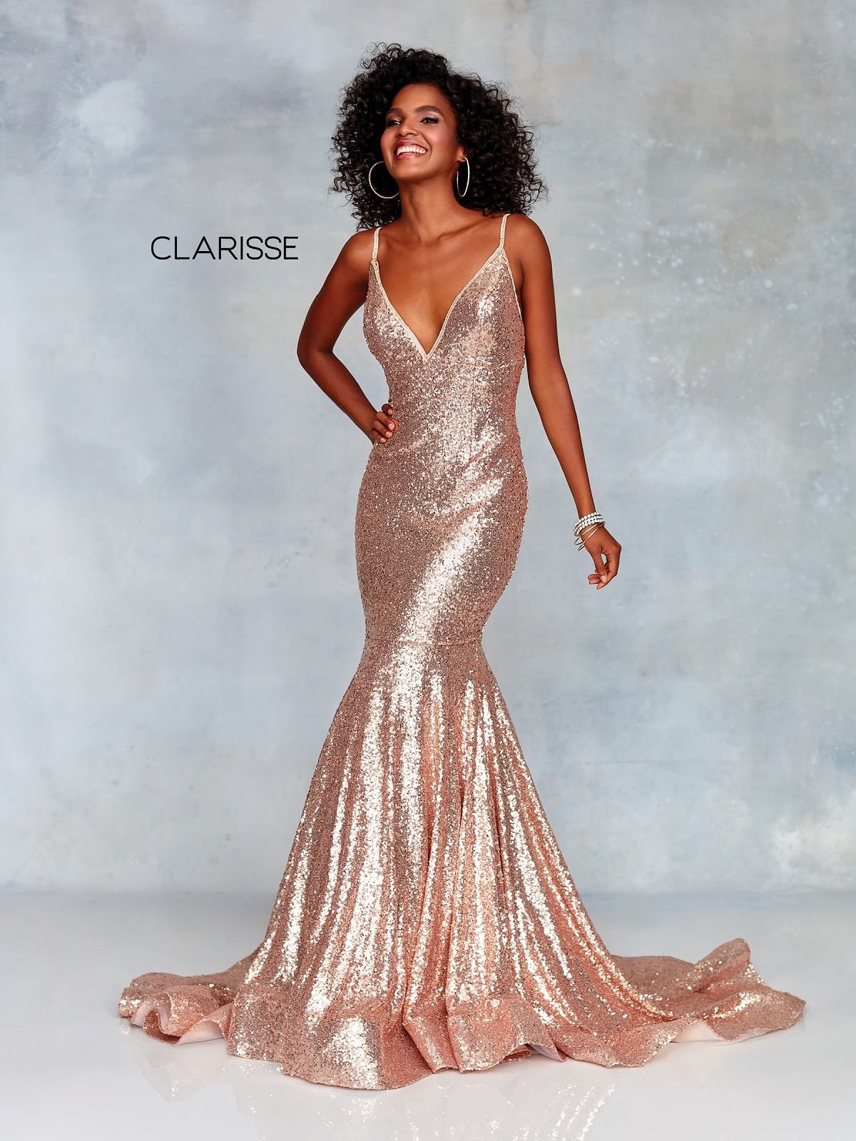 Clarisse Dress 3882 Glamorous Rose Gold Gown