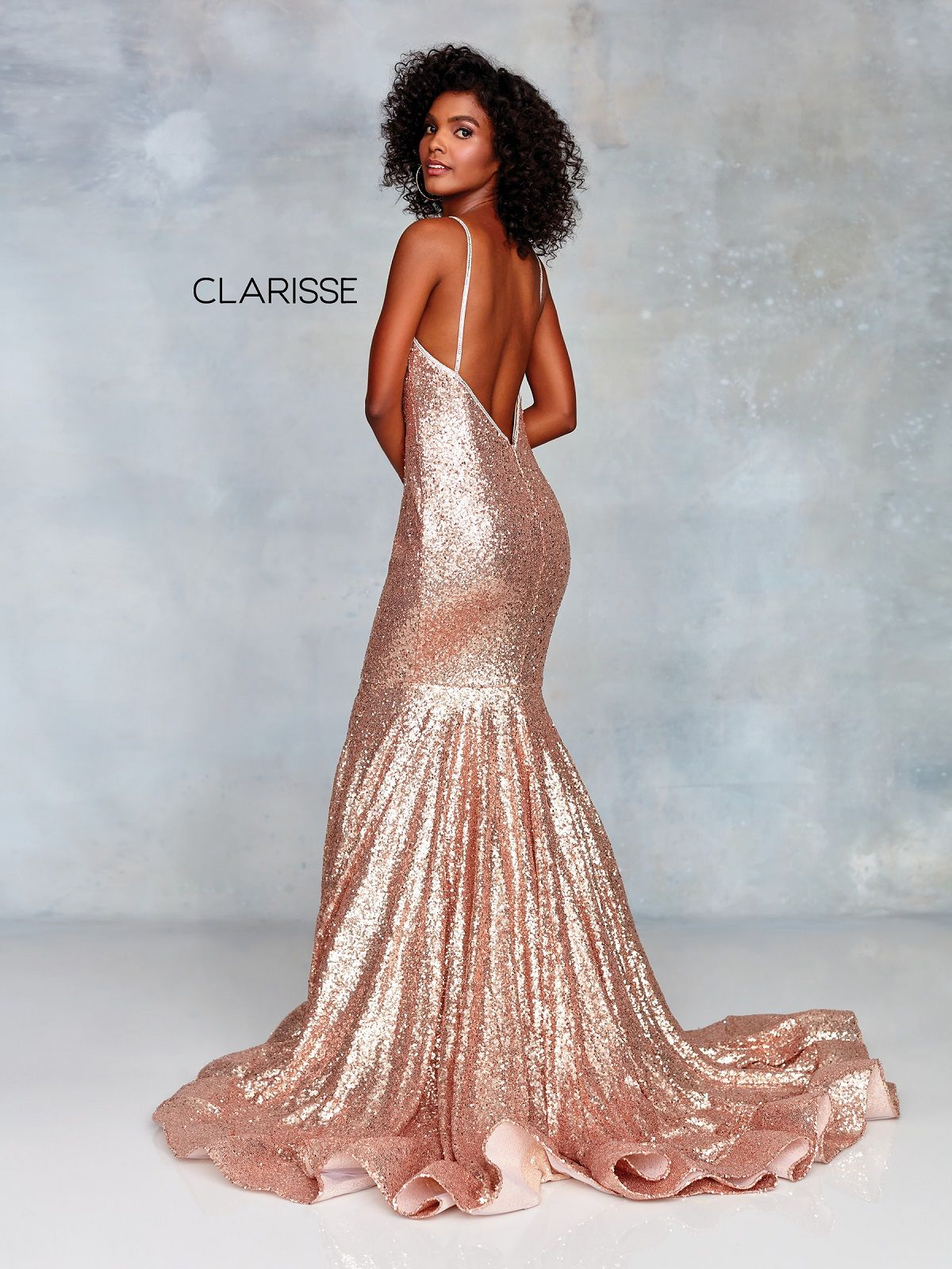 Get This Dress And Accessories At Its Fashion Metro In: Clarisse 3882 Glamorous Rose Gold Gown