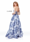 Clarisse Dress 3702 Silver and Indigo Floral Organza Gown | Prom 2019