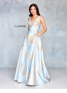 Clarisse Dress 3703 Steel Blue & Gold Floral Print Gown | Prom 2019
