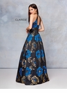 Clarisse Couture Dress 5007 Black Floral Halter Ball Gown | Prom 2019