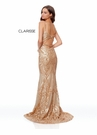 Clarisse Couture Dress 5057 Gold Sequined Fitted Gown | Prom 2019