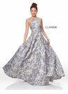 Clarisse Couture Dress 5058 Silver Brocade Ball Gown | Prom 2019