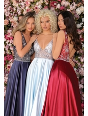 Clarisse Dress 8063 Satin Beaded A-Line Gown | Prom 2020| 3 Colors