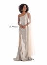 Clarisse Dress 8170 Asymmetric Champagne Print Gown | Prom 2020|