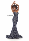 Clarisse Dress 8242 Strapless Lace Navy & Silver Mermaid | Prom 2020|