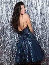 Clarisse Homecoming 2019 Navy & Turquoise Brocade Cocktail Dress 3956