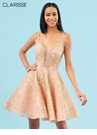Clarisse Homecoming Rose Gold Metalic Lace Dress 3906