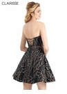 Clarisse Novelty Black & Gold Homecoming Dress s3913