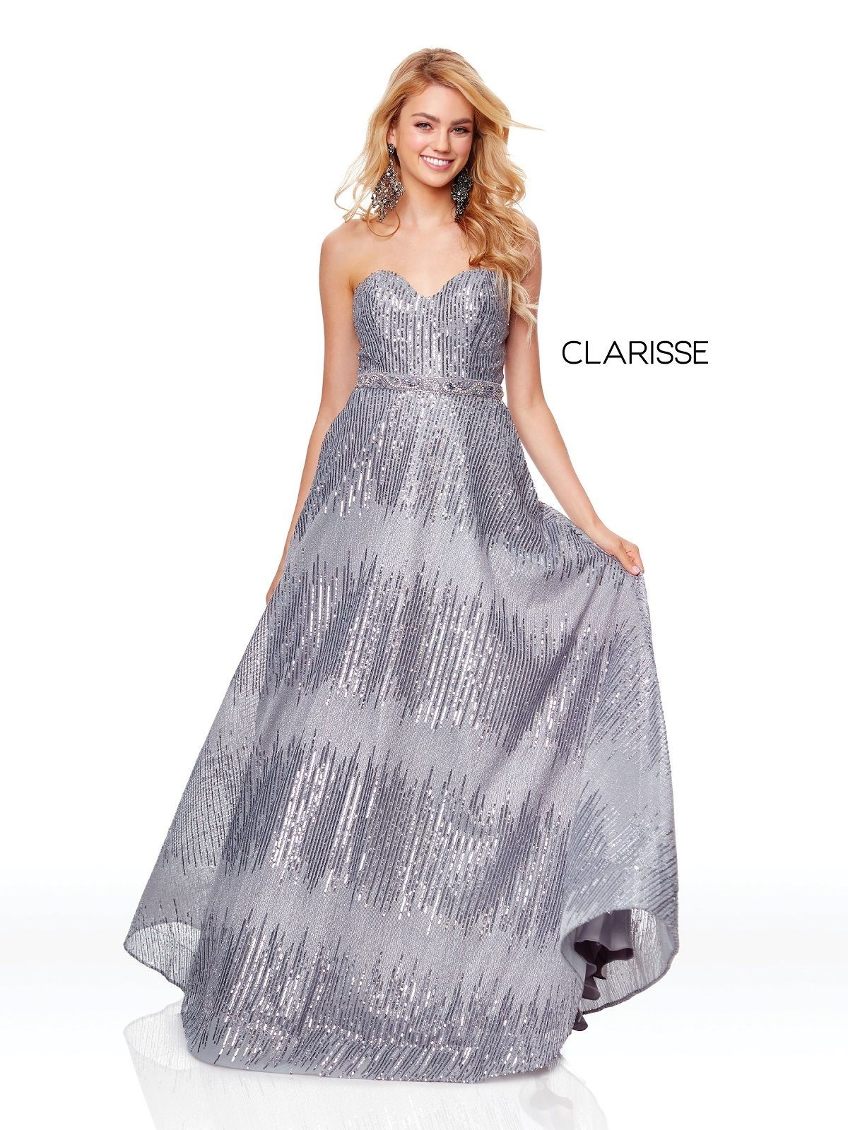 83d14105f64 Clarisse 3714 Pewter Sequined Prom Dress