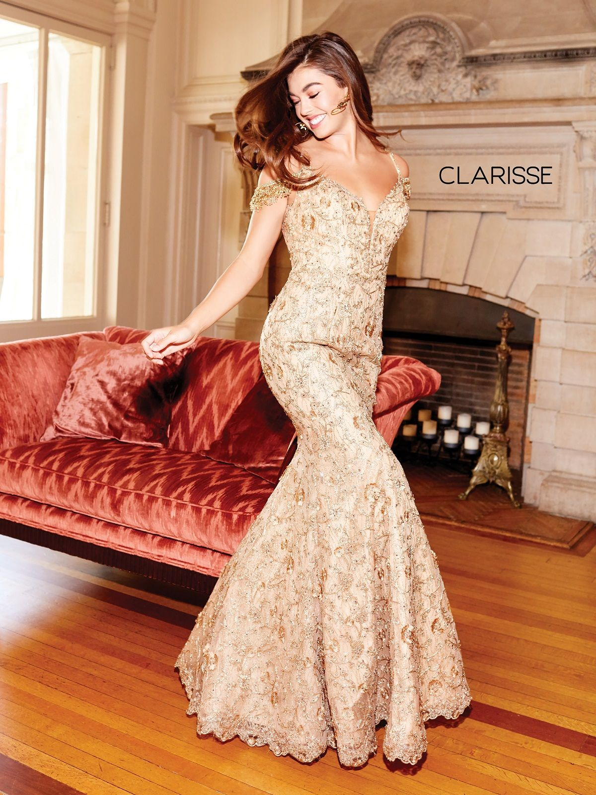 Gold Embroidered Prom Dress