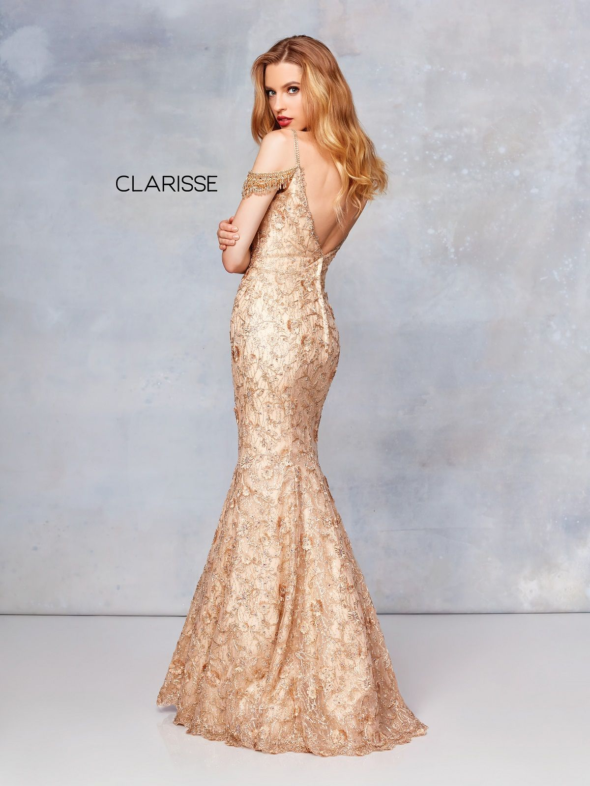 Clarisse Couture Dress 5052 Gold Embroidered Mermaid Prom 2019