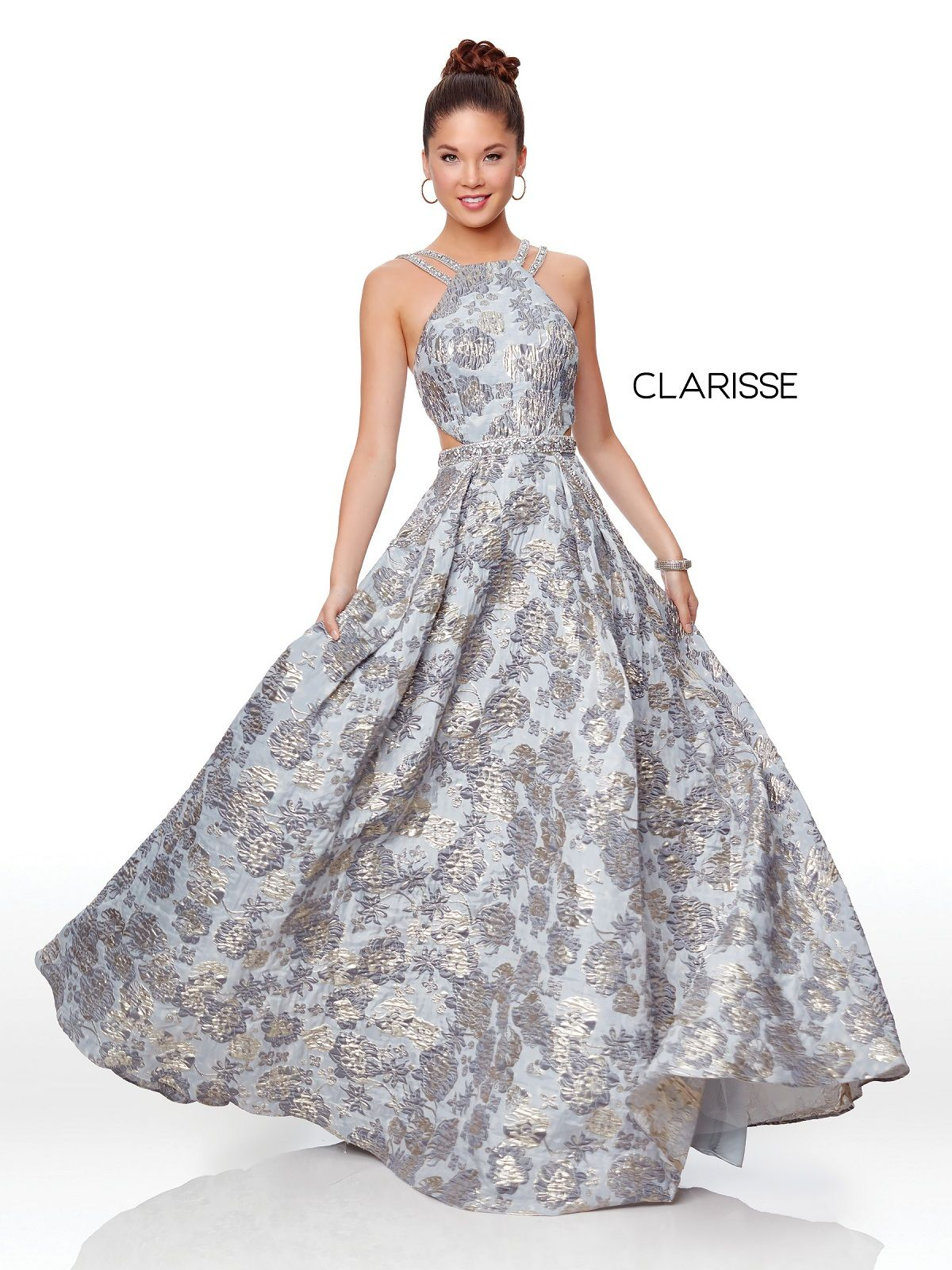 ae4ced8490 Clarisse Couture 5058 Silver Floral Brocade Ball Gown