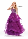 Clarisse Dress 3813 Mulberry Jeweled Ruffle Ball Gown | Prom 2019