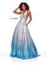Clarisse Dress 3820 Silver & Blue Halter Ombre Ball Gown | Prom 2019
