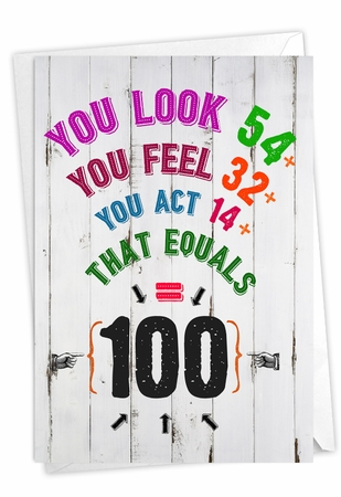 Hysterical Milestone Birthday Card From NobleWorksInc.com - Age Equation-100