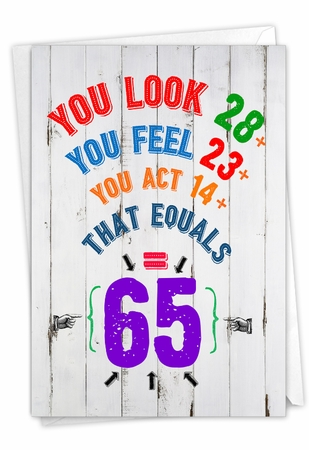 Hysterical Milestone Birthday Card From NobleWorksInc.com - Age Equation-65