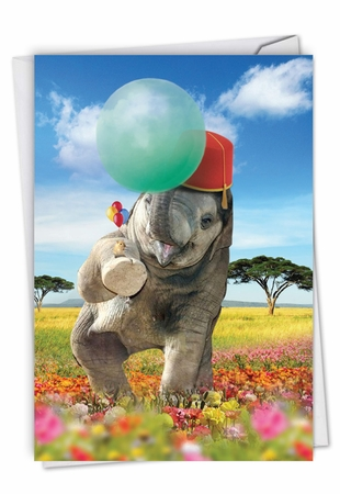 Stylish Birthday Card From NobleWorksInc.com - Balloon Animals - Elephant