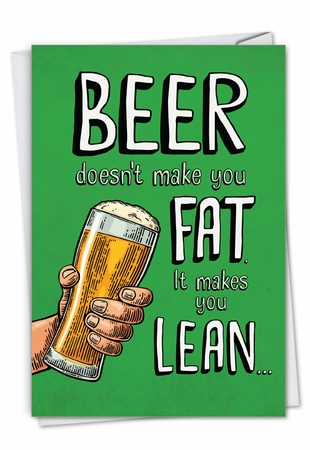 Humorous St. Patrick's Day Card From NobleWorksInc.com - Beer Makes You Lean