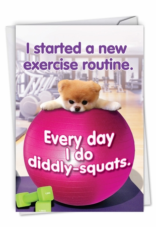 Humorous Birthday Card From NobleWorksInc.com - Boo's New Exercise Routine