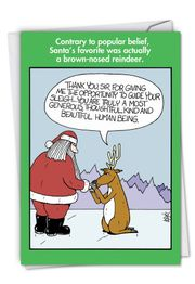 Brown-Nosed Reindeer Funny Christmas Card by NobleWorks and Leigh Rubin