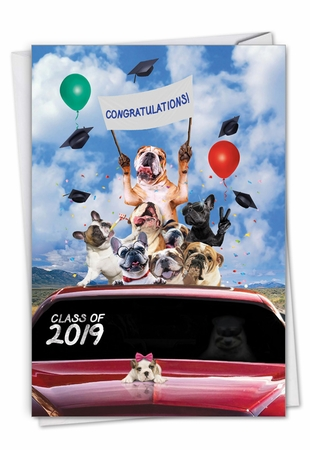 Creative Graduation Card From NobleWorksInc.com - Bulldog Mascot - 2019