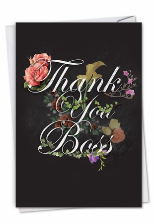 Stylish Boss Thank You Card From NobleWorksInc.com - Chalk and Roses