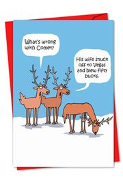 Comet's Problem Funny Christmas Card by NobleWorks and D.T. Walsh