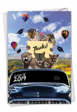 Creative Graduation Thank You Card From NobleWorksInc.com - Cougar Mascot - 2019