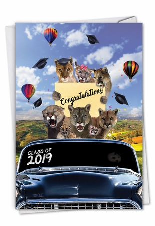 Stylish Graduation Card From NobleWorksInc.com - Cougar Mascot - 2019