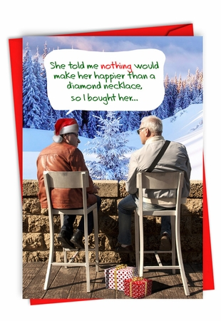 Humorous Merry Christmas Card From NobleWorksInc.com - Diamond Necklace