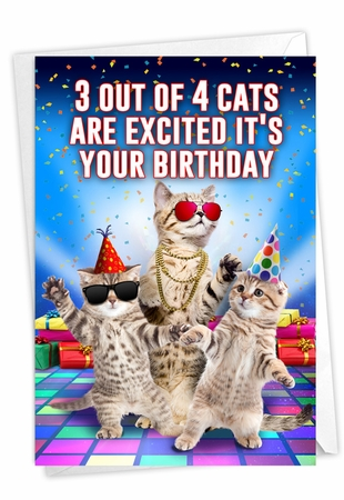 Humorous Birthday Card From NobleWorksInc.com - Excited Cats