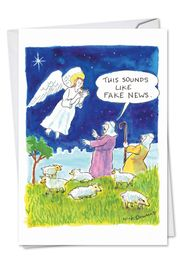 Fake News Angel Funny Christmas Card by NobleWorks and Nicholas Downes