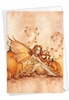 Stylish Halloween Card From NobleWorksInc.com - Fall Fairies - Pumpkins and Leaves
