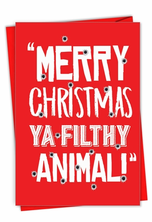 Humorous Merry Christmas Card From NobleWorksInc.com - Filthy Animal