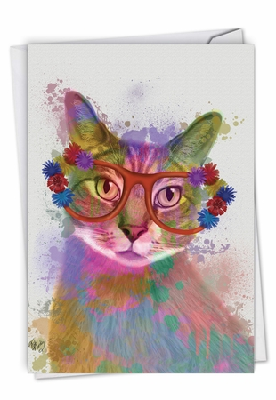 Creative Birthday Card From NobleWorksInc.com - Funky Rainbow Cats - Cool Cat