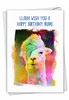 Stylish Birthday Card From NobleWorksInc.com - Funky Rainbow Llamas