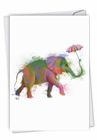 Stylish Birthday Card From NobleWorksInc.com - Funky Rainbow Wildlife - Elephant