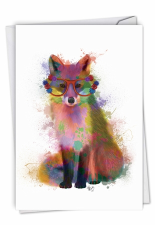 Stylish Birthday Card From NobleWorksInc.com - Funky Rainbow Wildlife - Fox