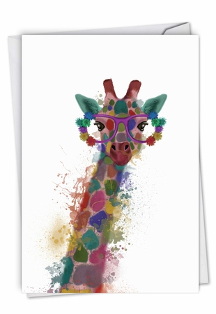 Creative Congratulations Card From NobleWorksInc.com - Funky Rainbow Wildlife - Giraffe