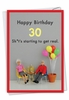 Hysterical Milestone Birthday Card From NobleWorksInc.com - Get Real 30