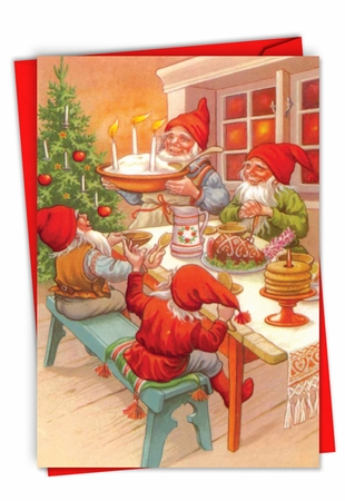 Stylish Merry Christmas Card From NobleWorksInc.com - Gnome for the Holidays
