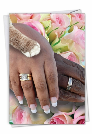 Hilarious Wedding Congratulations Card From NobleWorksInc.com - Hands And Cat Paw - People of Color