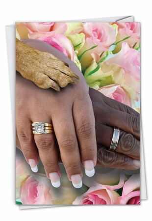 Funny Wedding Congratulations Card From NobleWorksInc.com - Hands And Dog Paw - People of Color