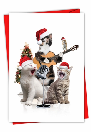 Creative Merry Christmas Card From NobleWorksInc.com - Holiday Animal Bands-Cats