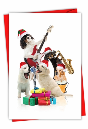Artistic Merry Christmas Card From NobleWorksInc.com - Holiday Animal Bands-Dogs