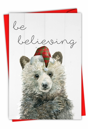 Artful Merry Christmas Card From NobleWorksInc.com - Holiday Be Wild-Bear