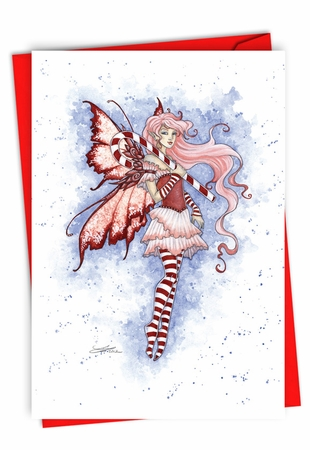 Stylish Merry Christmas Card From NobleWorksInc.com - Holiday Fairies - Candy Cane