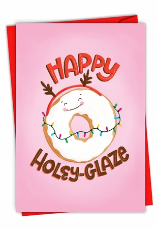 Beautiful Merry Christmas Card From NobleWorksInc.com - Holiday Food Puns-Donut