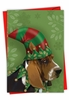 Beautiful Merry Christmas Card From NobleWorksInc.com - Holiday Hat Dogs-Hound